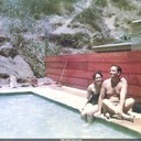 Norma and Jack poolside at house in Laurel Canyon, Los Angeles, while working for 20th Century Fox.